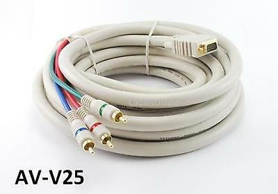(25' VGA Premium Male to Component 3RCA Male Cable for HD Projectors w/ VGA Input)
