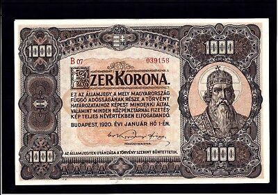 Top-Erhaltung/Bankfrisch 1000 Korona von 1920, Top-Erhaltung