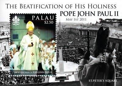 Palau- Beatification of Pope John Paul II souvenir sheet MNH