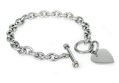 Stainless Steel Heart Charm Tag Toggle Bracelet 7.5