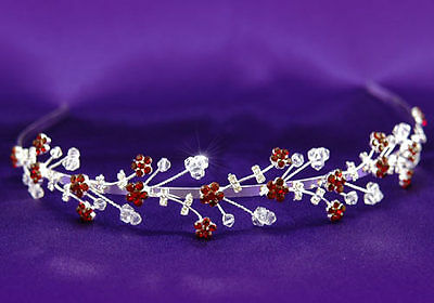 dunkel rot Kristall Braut Hochzeit Stirnband Tiara T1219