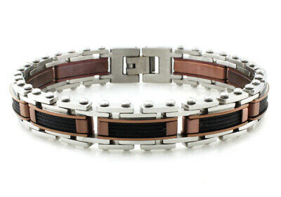 Stainless Steel Bronze Two Tone Black Cable Contemporary Link Mens Bracelet -
