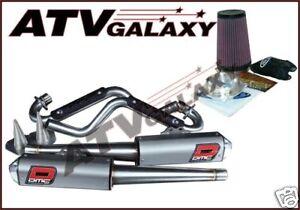 DMC Comp Dual Exhaust Pipe + Pro Design K&N KN Kit Yamaha Raptor 700 06-14