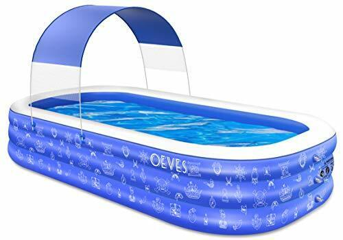 """Inflatable Swimming Pool for Kids and Adults with Canopy 95"""" X 56"""" X 22"""" Blue"""