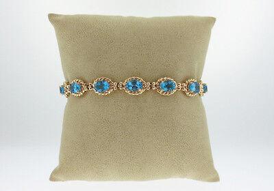 "Natural Blue Topaz Solid 14K Yellow Gold Tennis Bracelet 7"" 15.7GRAMS"