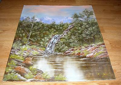 VINTAGE BRIDAL VEIL FALLS POCONOS MOUNTAINS PENNSYLVANIA BUSHKILL CREEK PAINTING
