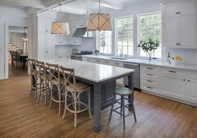 * 7ft White kitchen island with black quartz counter top Made in US*