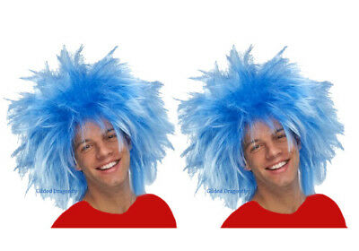 Thing 1 Wigs (Blue Wig Perfect Thing 1 Thing 2 Seuss Blue Wig 2 Pack Teen -)