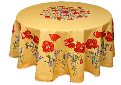 """70"""" Round COATED Provence Tablecloth - Poppies Yellow"""