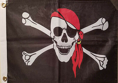 12x18 Pirate Jolly Roger Flag Red Bandana DOUBLE 2 SIDED Boat Car Flag FAST SHIP