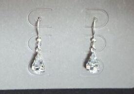 Silver Crystal Teardrop Dangle Earrings (Brand New)