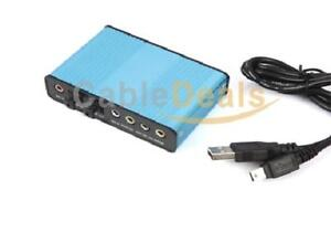 USB 2.0 External 6 Channel 5.1 S/PDIF Optical Sound Card Audio For PC Laptop