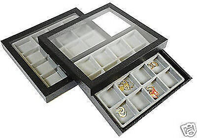 2-16 Compartment Acrylic Lid Jewelry Display Case Gray