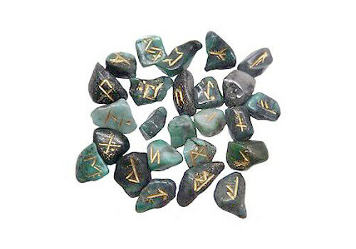 Small Emerald Rune Stones Norse Elder Futhark 25pc Set Wicca Pagan Divination