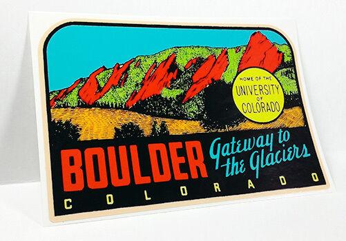 BOULDER Colorado Vintage Style Travel Decal, Vinyl Sticker, Luggage Label