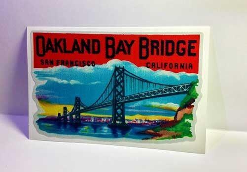 Oakland Bay Bridge Vintage Style Travel Decal / Vinyl Sticker, Luggage Label