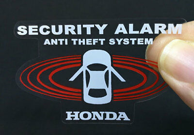 2 Car Alarm DECALS for HONDA, Inside/Outside Glass, Security System STICKERS Honda Alarm System