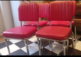 Set of Four Red Diner chairs