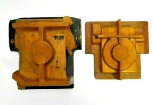 LOT OF 2 WOOD FOUNDRY CASTING PATTERN MORSE BROS INDUSTRIAL SCULPTURE ART MOLD
