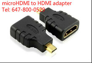 micro HDMI to HDMI adapter and 6 feet DVI to HDMI cable
