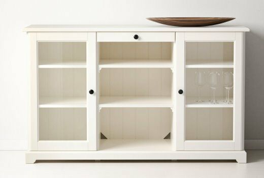 BARGAIN IKEA LIATORP WHITE SIDEBOARD WITH GLASS DOORS