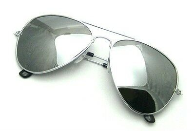 Extra Large Aviator Sunglasses Gold or Silver Frame Dark Mirror Lenses (Aviator Sunglasses Silver Frame)