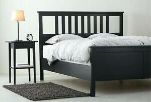 Queen Hemnes Bed Frame, Beam & Slats included, good condition!