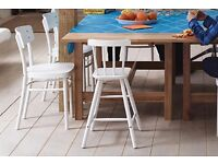 White wood kid kitchen chair - IKEA junior AGAM chair, perfect for two years old plus
