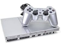 PS2 slimline console (silver) + optional accessories and games