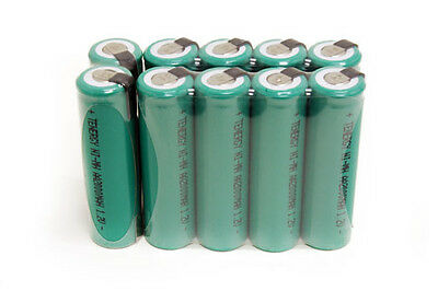 10 Aa Nimh Rechargable Batteries - Tenergy 10PCS AA 2000mAh 1.2V NiMH Rechargeable Batteries Cells Flat Top w/ Tabs