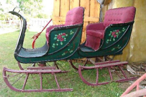 Rare century-old horse drawn double bobsleigh