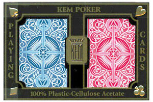 KEM Red Blue Arrow Bridge Playing Cards 100% Plastic Jumbo, long lasting cards