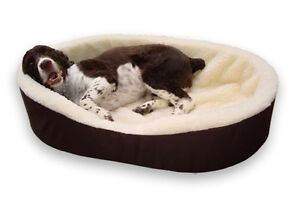Dog Bed King Cuddler Large Brown/Lambswool Dog Pet Bed 33