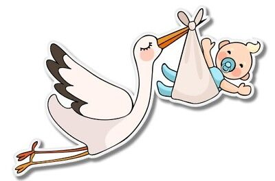 Cute Stork with Baby Baby Shower Car Laptop Phone Vinyl Sticker  - SELECT SIZE](Stork With Baby)