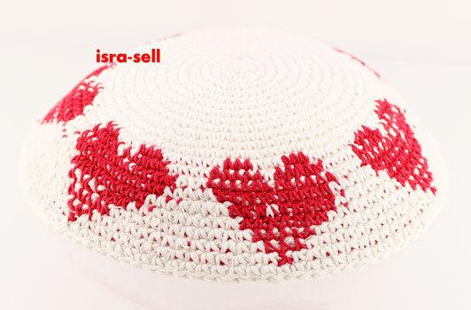 WHITE KIPPAH WITH RED HEARTS - yarmulka/yarmulke/yamaka - jewish hat