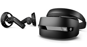 HP mixed reality VR headset and controllers.