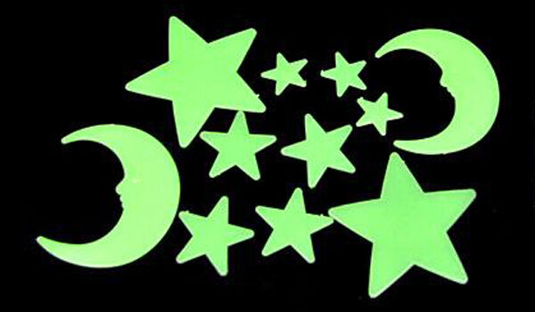 GLOW IN DARK MOON + STAR STICKERS CEILING WALL BEDROOM LUMINOUS MOON STARS