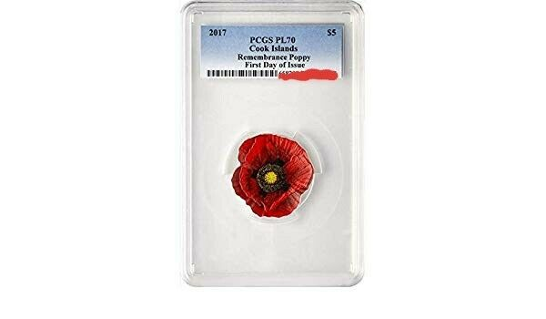 REMEMBRANCE POPPY - 2017 $5 Cook Islands .999 Silver Coin PCGS PL70 First Day