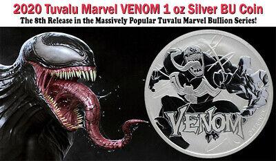 2020 Tuvalu Venom 1 oz .9999 Fine Silver Marvel Series $1 Coin GEM BU