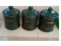 Storage containers for coffee, tea and sugar, larger biscuit barrel to match, good condition