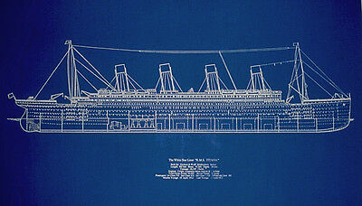 "Ship RMS Titanic White Star Line Blueprint Plan Profile 19"" x 29"" (001B)"