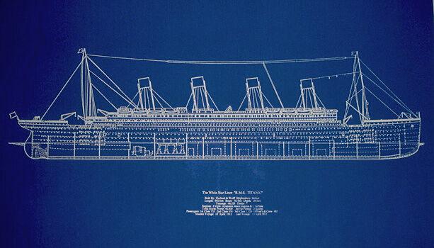 "Ships Plan RMS Titanic White Star Line Blueprint Profile 19"" x 29"" (001B)"