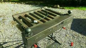 Log burner. Cast iron grate. French Tifon with accessories.