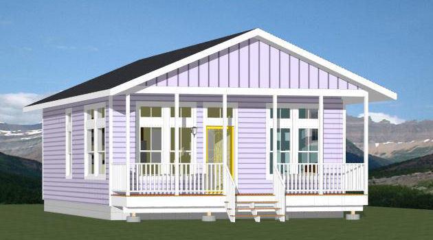 24x32 House -- 2 Bedroom 2 Bath -- PDF Floor Plan -- 768 sq ft -- Model 3