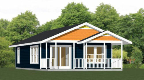22x36 House -- 2 Bedroom 1 Bath -- 792 sq ft -- PDF Floor Plan -- Model 1C