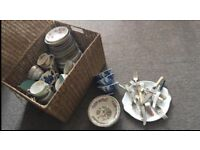 Job lot vintage crockery comes with wicker basket