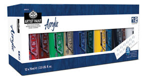 ROYAL LANGNICKEL ACRYLIC COLOUR ARTIST PAINT SETS 3 - 4 - 6 or 12  x 75ml TUBES