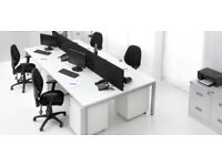 20 - BENCH DESKS - WHITE - 1600MM X 800MM PER PERSON - 5 X PODS OF 4 - VG COND / WIRE MANAGED