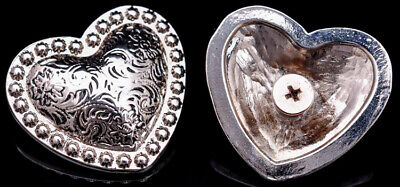 """Western Silver Gold Rope Border Heart Conchos 1-1//2/"""" SET OF 6"""