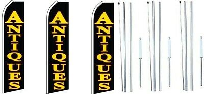 Antiques Swooper Flag With Complete Hybrid Pole Set- 3 Pack